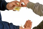 stock photo of drug dealer  - A drug dealer delivery drugs in exchange for money - JPG