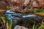 image of guadalupe  - Beautiful Fall Foliage Surrounding the Silky Waterfalls on the Guadalupe River, Texas.  With rocky shores and grasses.