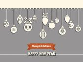 Paper Cutout Christmas Baubles - White lacy Christmas baubles with Merry Christmas banner and Happy