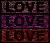 picture of triptych  - Word cloud concept illustration of love in shape of triptych isolated on black - JPG