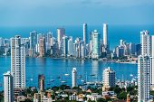 stock photo of medellin  - View of skyscrapers in the Bocagrande neighborhood of Cartagena Colombia