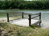 picture of dock a pond  - a small dock located on the pond jemaye France - JPG