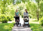 stock photo of mother baby nature  - Portrait of happy mothers with their baby strollers walking together in park - JPG