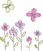 image of butterfly flowers  - Vector - JPG