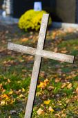 image of crucifiction  - Cross with crucified Jesus Christ at cemetery - JPG