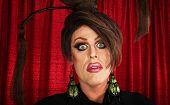 picture of drag-queen  - Spaced out drag queen with unique hairdo - JPG