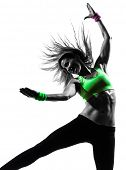 stock photo of zumba  - one caucasian woman exercising fitness zumba dancing in silhouette on white background - JPG