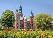 stock photo of copenhagen  - Rose Garden and Rosenborg Palace in Copenhagen Denmark - JPG