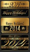 Decorative New Year 2014 vector black and golden design
