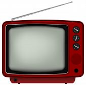stock photo of tv sets  - Red Retro TV  - JPG