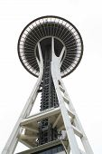 foto of view from space needle  - A view of the Space Needle in Seattle looking straight up at the observation deck - JPG