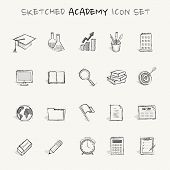 stock photo of analog clock  - Sketched academy icon set that  you can use when you want to add some analog touch to your design - JPG