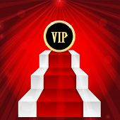 Vip Sign On The Top Of The Stairs On Red Rays Background.vip Mark In Gold With Jewels