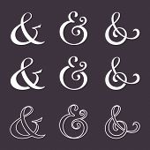 picture of glyphs  - Collection of custom decoration ampersands for wedding letterpress invitation - JPG