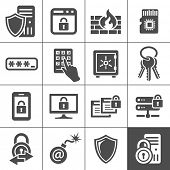 stock photo of passed out  - Information technology security icons - JPG