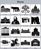 Landmarks of Rome. Set of monochrome icons. Raster illustration.
