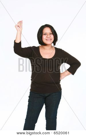 Hispanic Woman Snapping Fingers