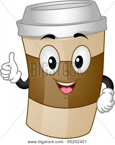 Mascot Illustration of a Cup of Coffee for Take-out Giving a Thumbs Up