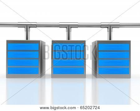 Server group over white background