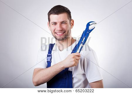 Young Mechanic With Spanner