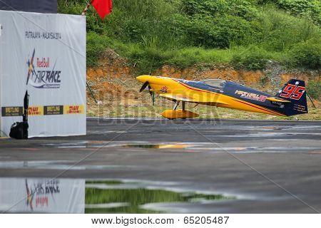 PUTRAJAYA, MALAYSIA - MAY 16, 2014: Matt Hall, Australia, piloting a MXS-R readies for take off during a training session preparing for the Red Bull Air Race World Championship Putrajaya 2014.