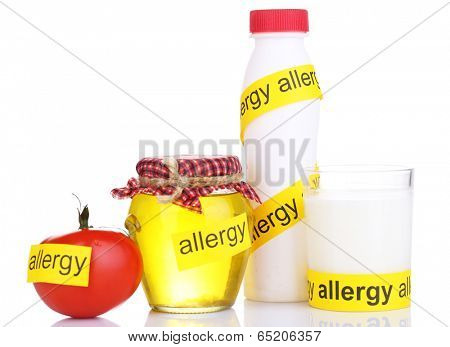 Allergenic food isolated on white