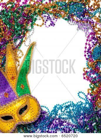 Frontera de grano de Mardi Gras y máscara en blanco