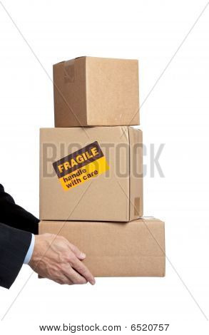 Business Man's Hands Holding Box With Copy Space
