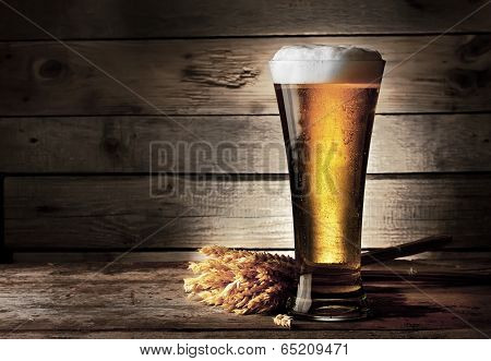 Tall Beer Glass With Beer