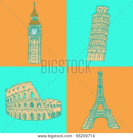 Sketch Eifel Tower, Pisa Tower, Big Ben And Coliseum, Vector Set