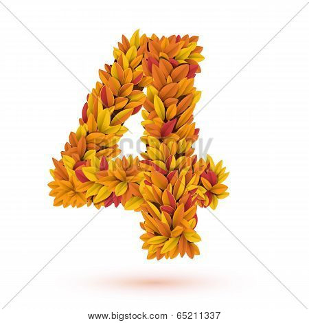 Autunm fall bright orange leaves number
