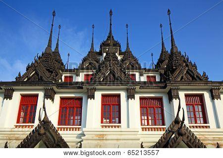Iron temple Loha Prasat in Wat Ratchanatdaram Worawihan