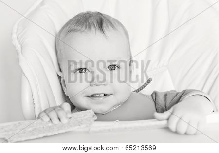 Happy Baby Boy Eating