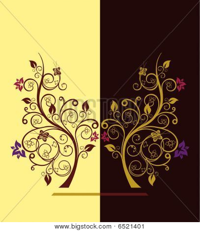Flowering Trees Vector Illustration