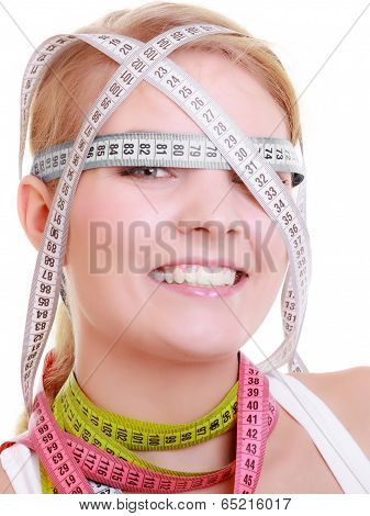 Obsessed Fitness Woman With A Lot Of Colorful Measure Tapes