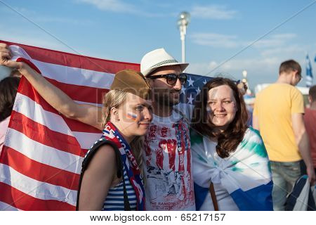 The hockey fans from Russia and USA