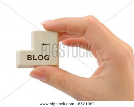Computer Button Blog In Hand