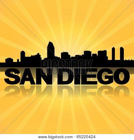 San Diego skyline reflected with sunburst illustration