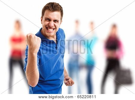 Very happy energetic man portrait