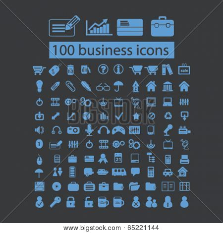 100 business, marketing, finance, bank icons set, vector