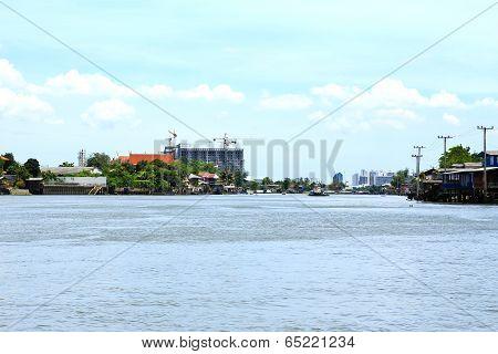 Chao Phraya River At Nonthaburi ,thailand.