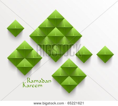 Vector 3D Folded Paper Graphics. Translation: Ramadan Kareem - May Generosity Bless You During The Holy Month.