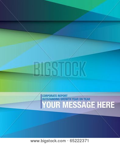 Front cover for abstract style business report, blues and gradient