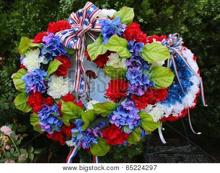 Wreath on Memorial Day at military memorial