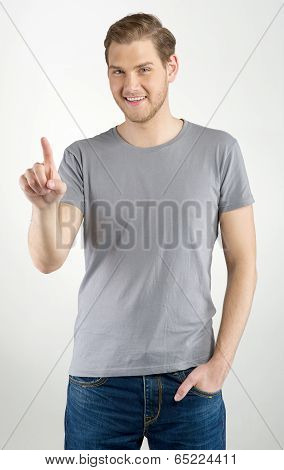 Man Touching An Imaginary Button