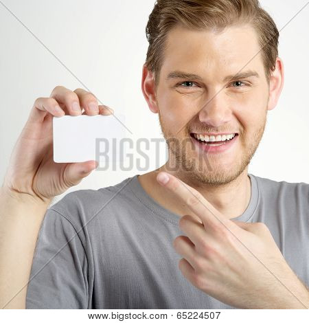 Man Holding Card