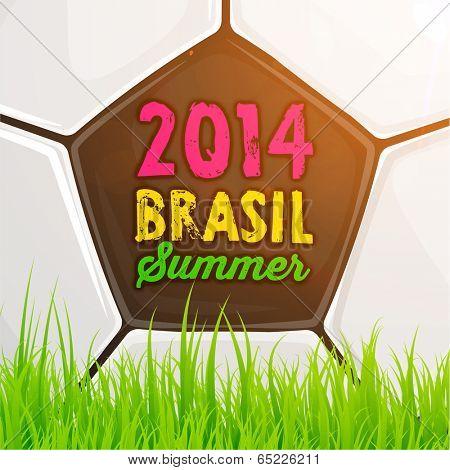 Brazil Summer 2014 Vector, Soccer Ball and Grass for Football Design