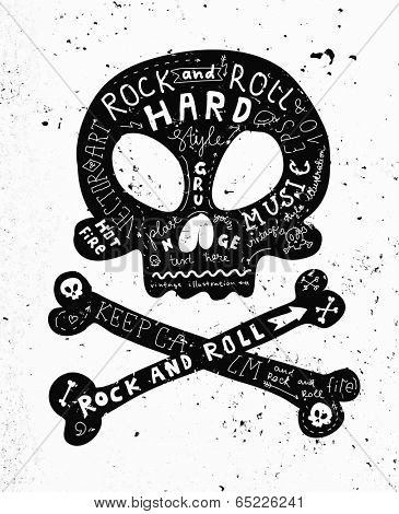 Vintage Label with Black Skull and Crossbones, Rock and Roll Style. Typography Elements.