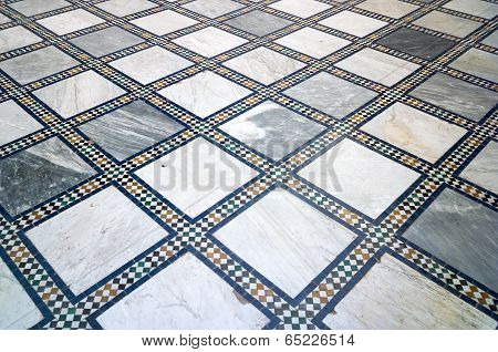 Traditional Arabic marble and mosaic tiled floor