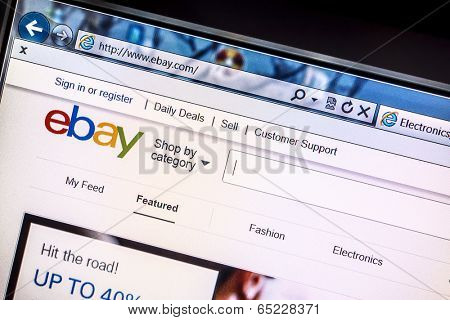 Ostersund, Sweden - May 16, 2014: Close up of ebay's website on a computer screen. ebay is one of the largest online auction and shopping websites in the world.
